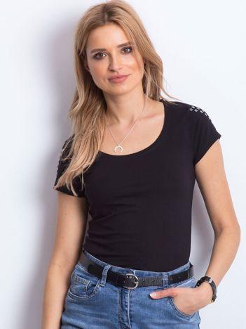 T-shirt czarny z aplikacją na ramionach
