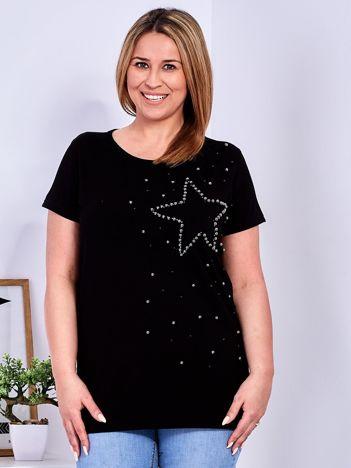 T-shirt czarny z gwiazdą z perełek PLUS SIZE