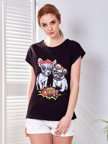 T-shirt czarny z pieskami