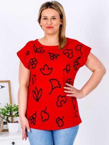 T-shirt czerwony z nadrukiem PLUS SIZE