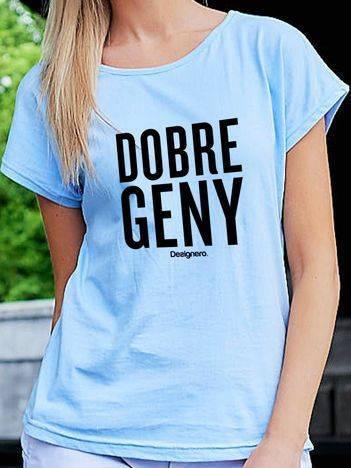 T-shirt damski DOBRE GENY niebieski
