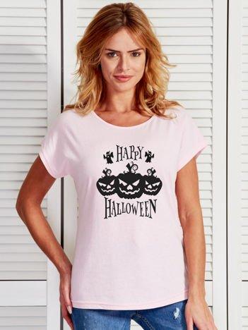 T-shirt damski Halloween z nadrukiem dyni jasnoróżowy