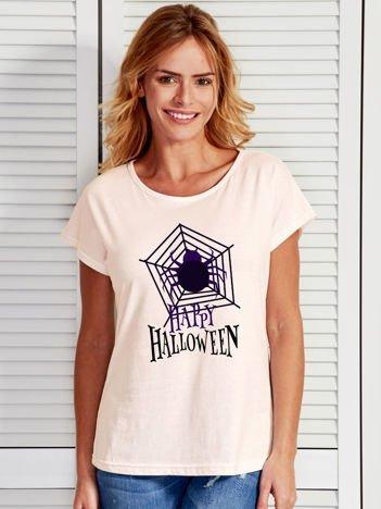 T-shirt damski Halloween z nadrukiem pajęczyny ecru