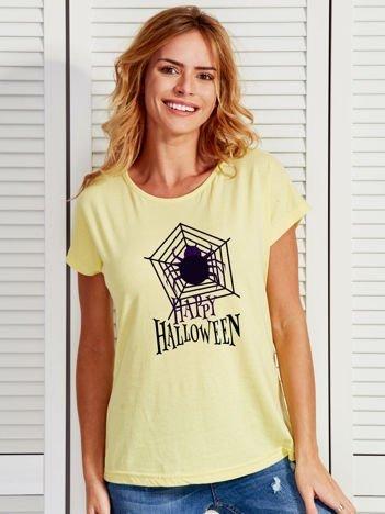 T-shirt damski Halloween z nadrukiem pajęczyny żółty