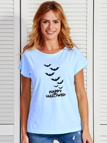 T-shirt damski Happy Halloween z nietoperzami niebieski