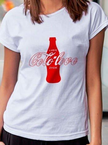T-shirt damski LUBIĘ COLO LOVE ŻYCIE biały