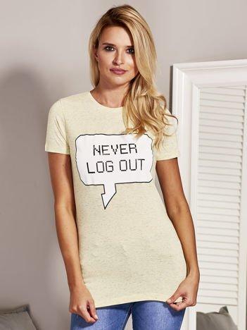 T-shirt damski NEVER LOG OUT żółty