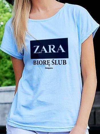 T-shirt damski ZARA BIORĘ ŚLUB niebieski