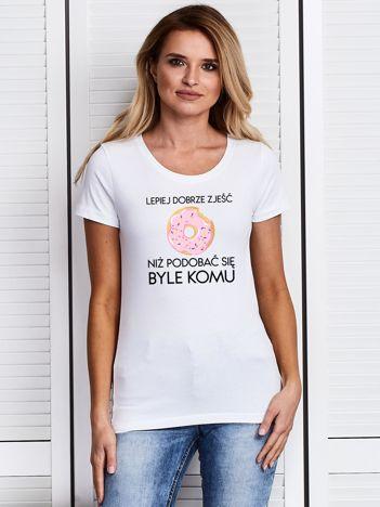 T-shirt damski biały LEPIEJ DOBRZE ZJEŚĆ z pączkiem