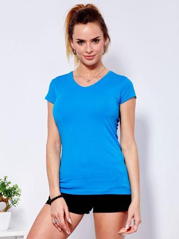 T-shirt damski ciemnoniebieski V-neck