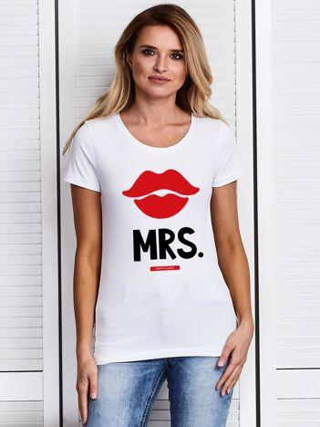 T-shirt damski dla par MISTRESS z ustami biały