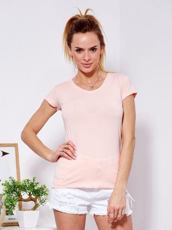 T-shirt damski jasnoróżowy V-neck