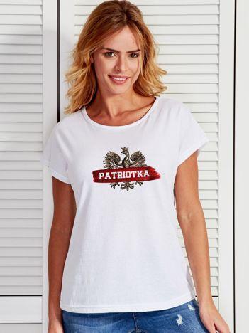 T-shirt damski patriotyczny z nadrukiem Orła Białego biały