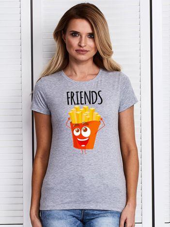 T-shirt damski szary z frytkami
