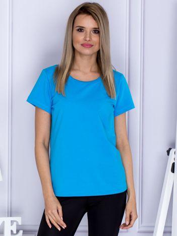 T-shirt damski turkusowy w sportowym stylu