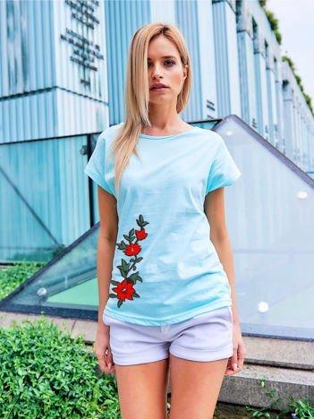 T-shirt damski turkusowy z naszywką FLOWER