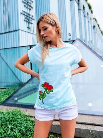T-shirt damski turkusowy z naszywką RÓŻE