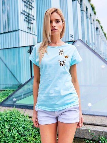 T-shirt damski turkusowy z naszywkami DOGS