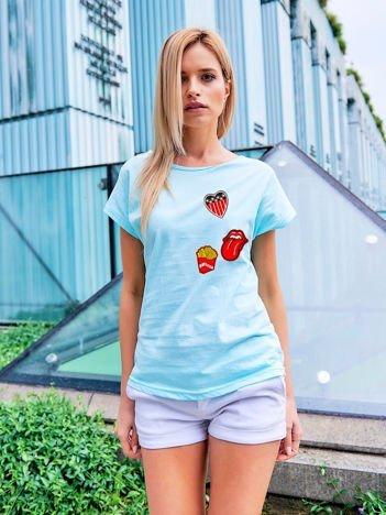 T-shirt damski turkusowy z naszywkami FRITES