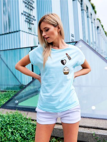 T-shirt damski turkusowy z naszywkami cekinowymi
