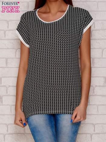 T-shirt damski w geometryczne wzory czarny