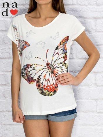 T-shirt damski w motyle biały