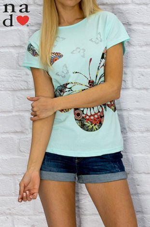 T-shirt damski w motyle turkusowy