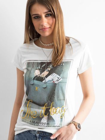 T-shirt damski z bawełny z nadrukiem ecru