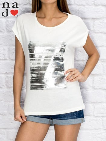 T-shirt damski z błyszczącym nadrukiem biały