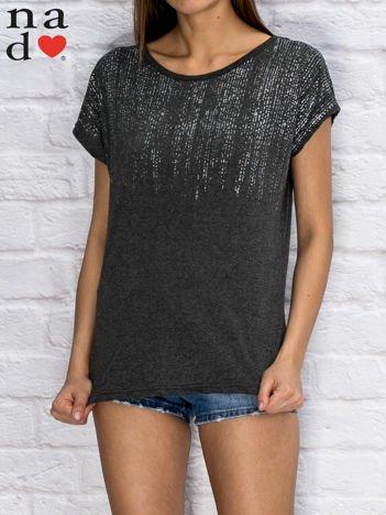 T-shirt damski z błyszczącym printem ciemnoszary