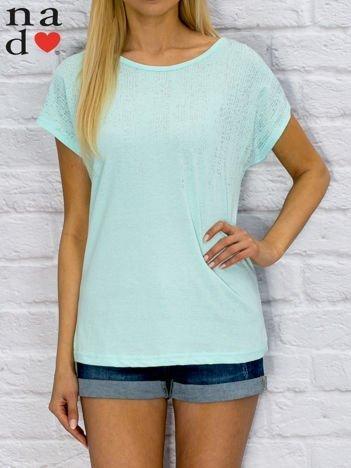 T-shirt damski z błyszczącym printem turkusowy