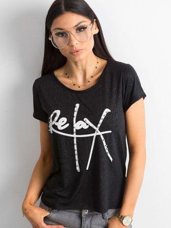 T-shirt damski z brokatowymi drobinkami czarny
