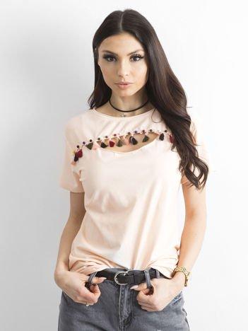 T-shirt damski z kolorowymi pomponikami jasnoróżowy