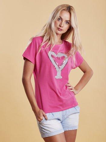 T-shirt damski z motywem węży ciemnoróżowy