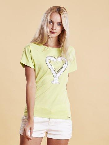 T-shirt damski z motywem węży limonkowy