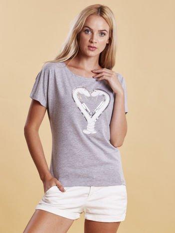 T-shirt damski z motywem węży szary