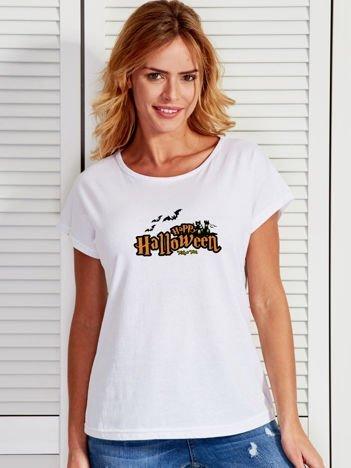 T-shirt damski z nadrukiem Happy Halloween biały