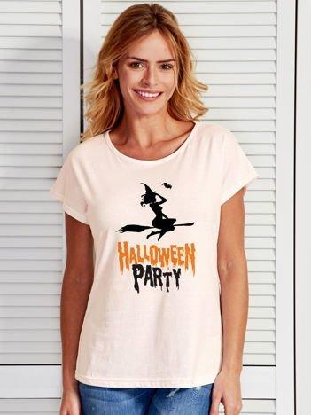 T-shirt damski z nadrukiem czarownicy Halloween ecru