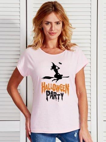 T-shirt damski z nadrukiem czarownicy Halloween jasnoróżowy