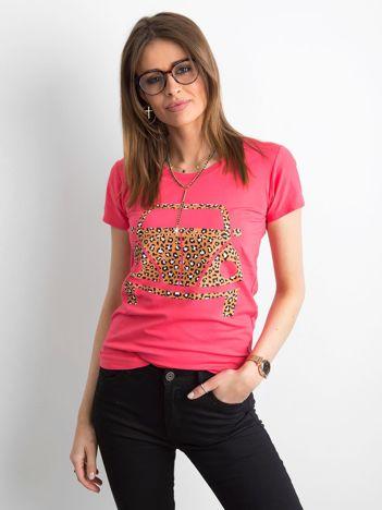T-shirt damski z nadrukiem koralowy