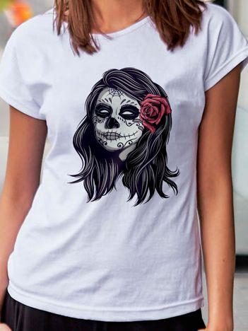 T-shirt damski z nadrukiem narzeczonej zombie biały