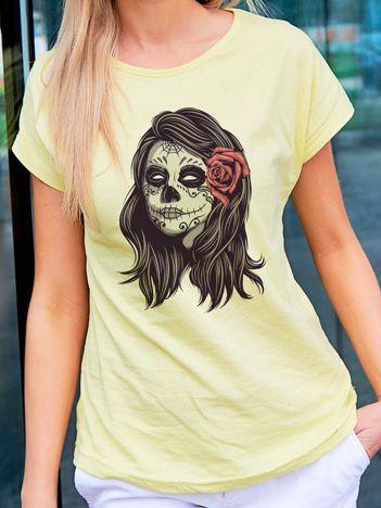 T-shirt damski z nadrukiem narzeczonej zombie żółty