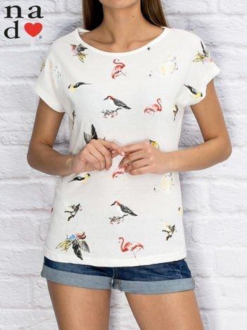 T-shirt damski z nadrukiem ptaków ecru