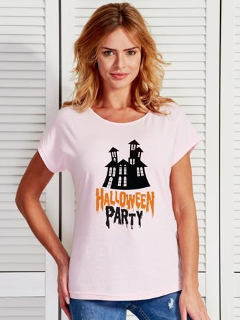 T-shirt damski z nadrukiem zamczyska Halloween jasnoróżowy