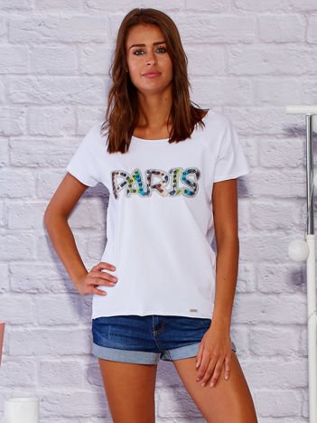 T-shirt damski z napisem PARIS jasnoniebieski