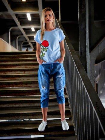 T-shirt damski z naszywką błękitny FLOWER