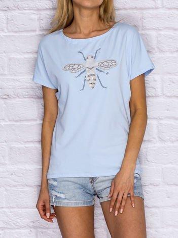 T-shirt damski z naszywką owada jasnoniebieski