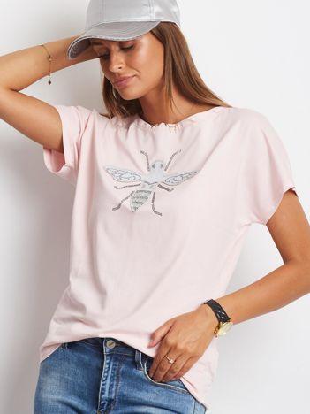 T-shirt damski z naszywką owada jasnoróżowy