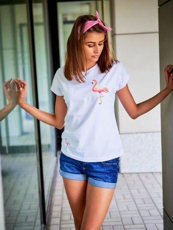 T-shirt damski z naszywkami FLAMINGI biały
