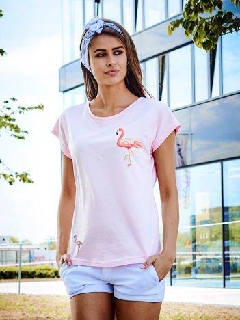 T-shirt damski z naszywkami FLAMINGI jasnoróżowy